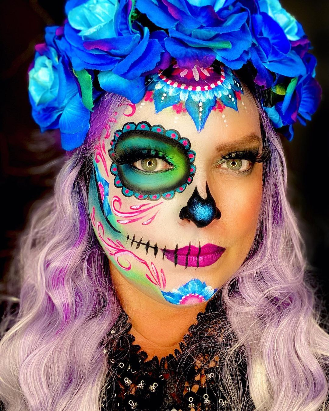 Neon sugar skull for Day of The Dead Makeup Ideas
