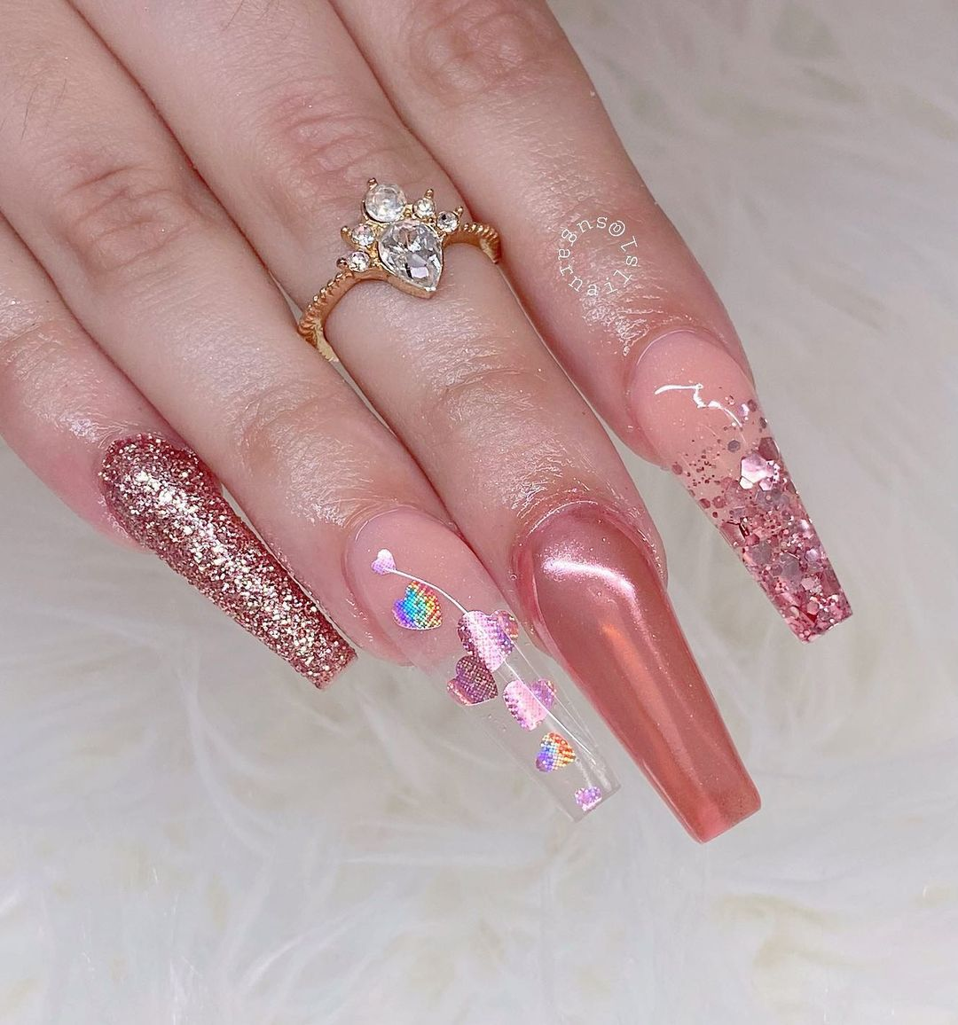 Pink chrome nails with glitter