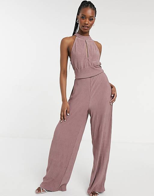 Mauve linen jumpsuit for beach wedding