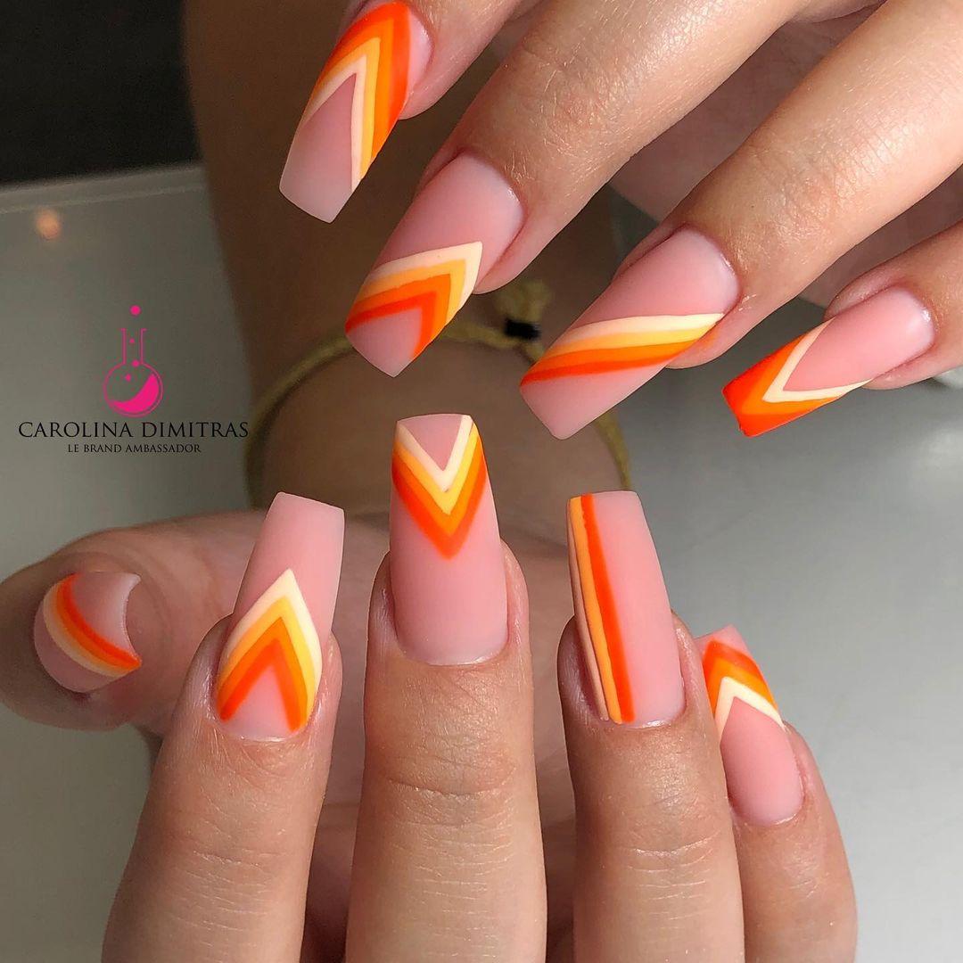 Abstract candy corn nails