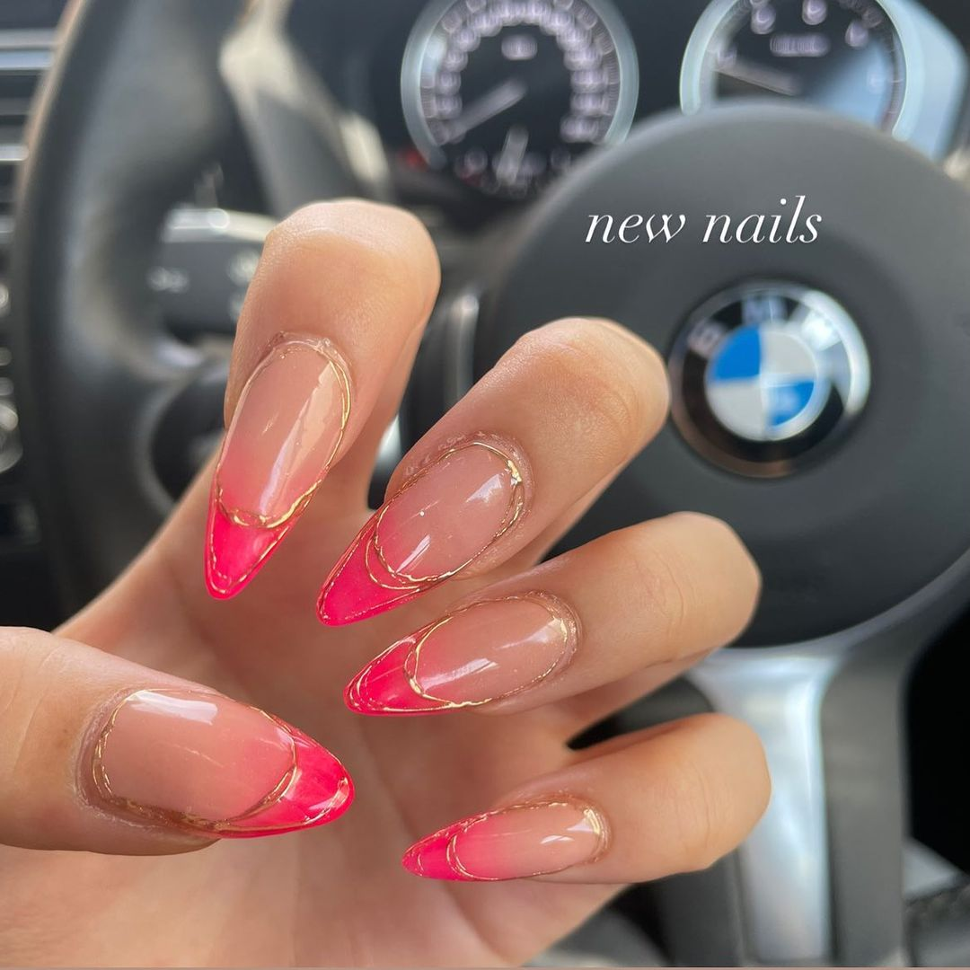 Pink french tips with gold detailing