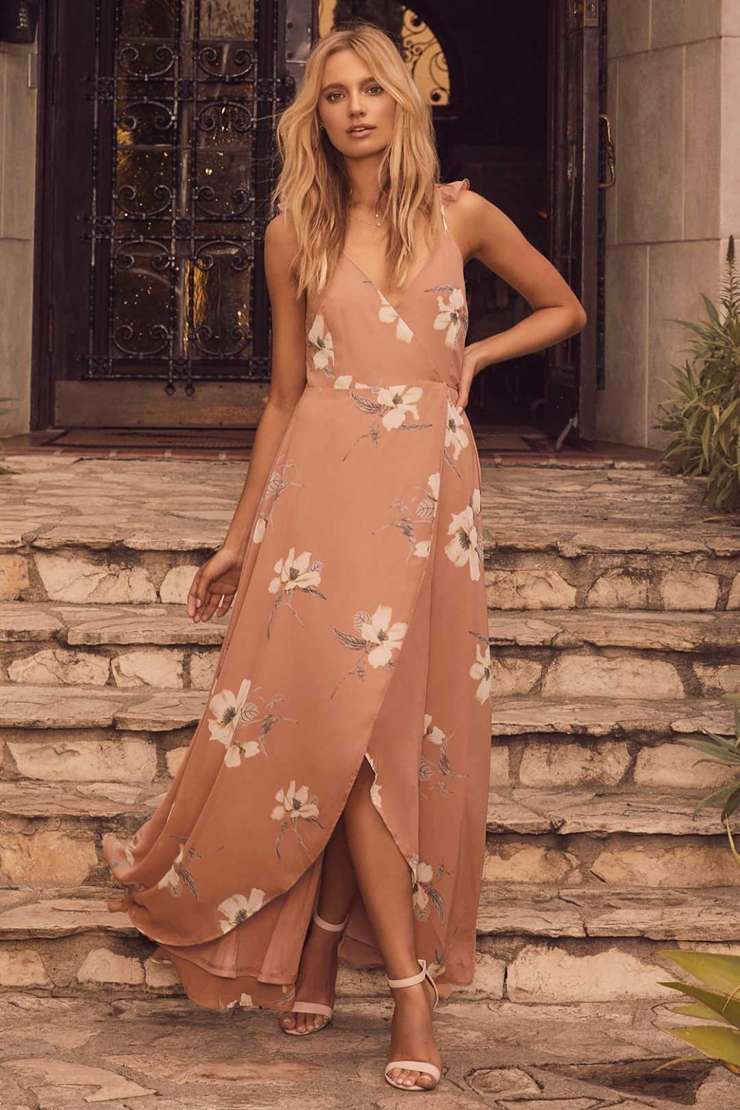 Dusty pink maxi dress with floral pattern for beach wedding