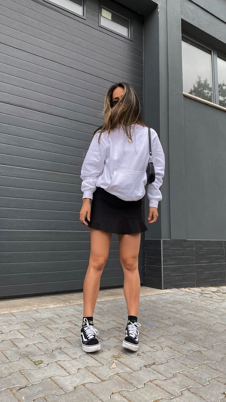 White hoodie with mini skirt for best outfits with hoodies