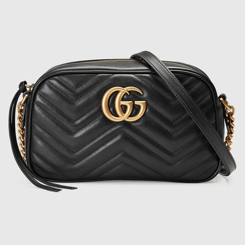 Gucci GG Marmont Matalasse Small Shoulder Bag in black for best designer bags under $2000