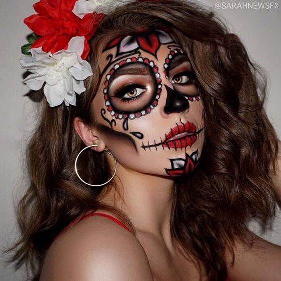 Sultry red look for Day of The Dead Makeup Ideas