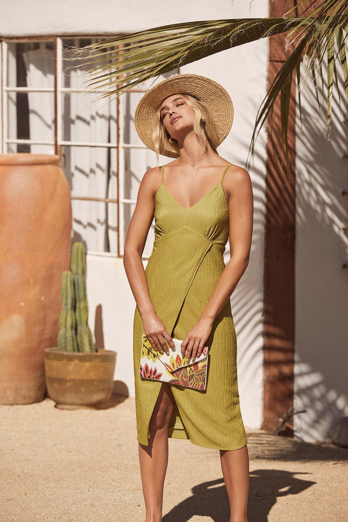 Chartreuse midi dress for beach wedding
