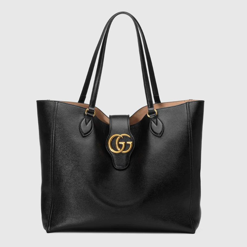 Gucci Medium Tote with Double G in black for best designer tote bags for travel