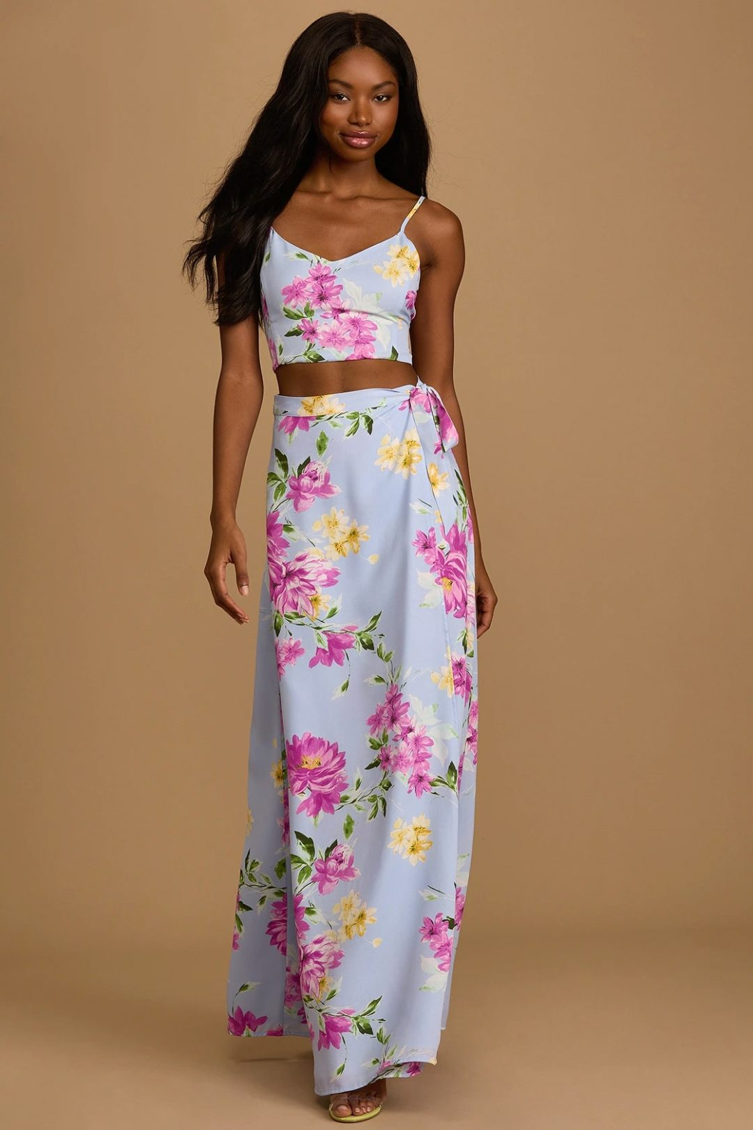 Two-piece blue top and skirt set