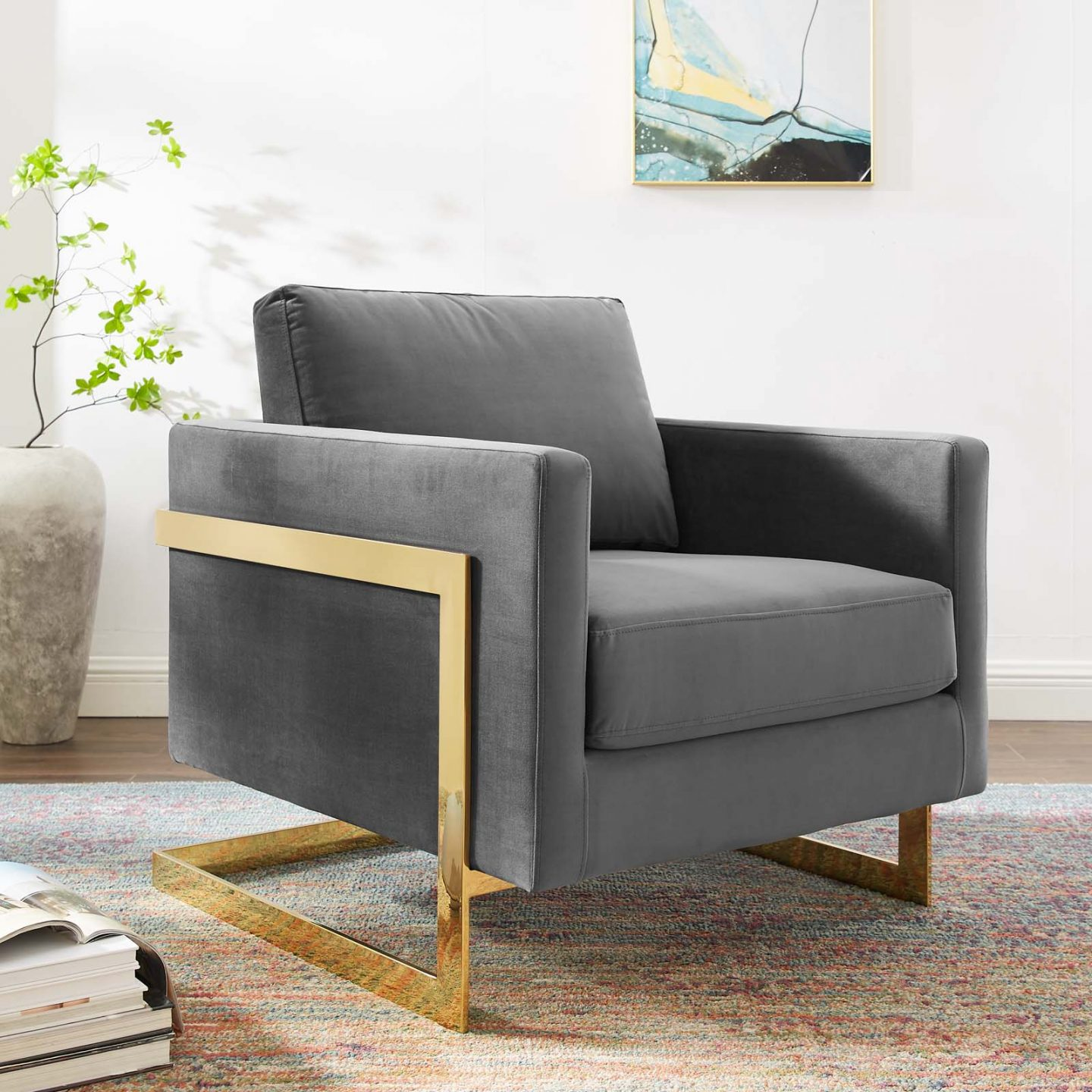 Dark gay chair with gold detailing from LexMod