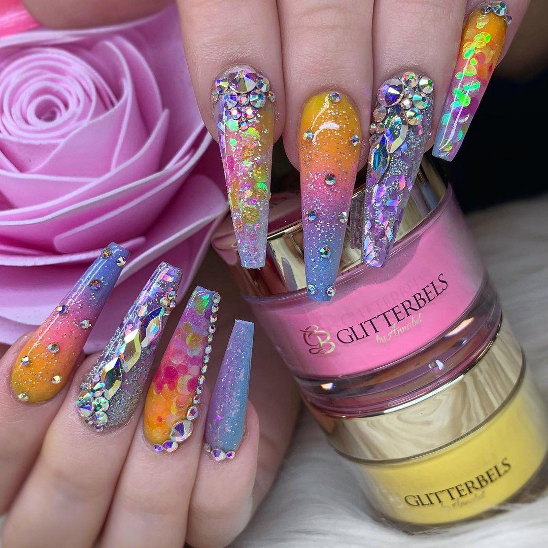 Multicolor ombre nails with rhinestones