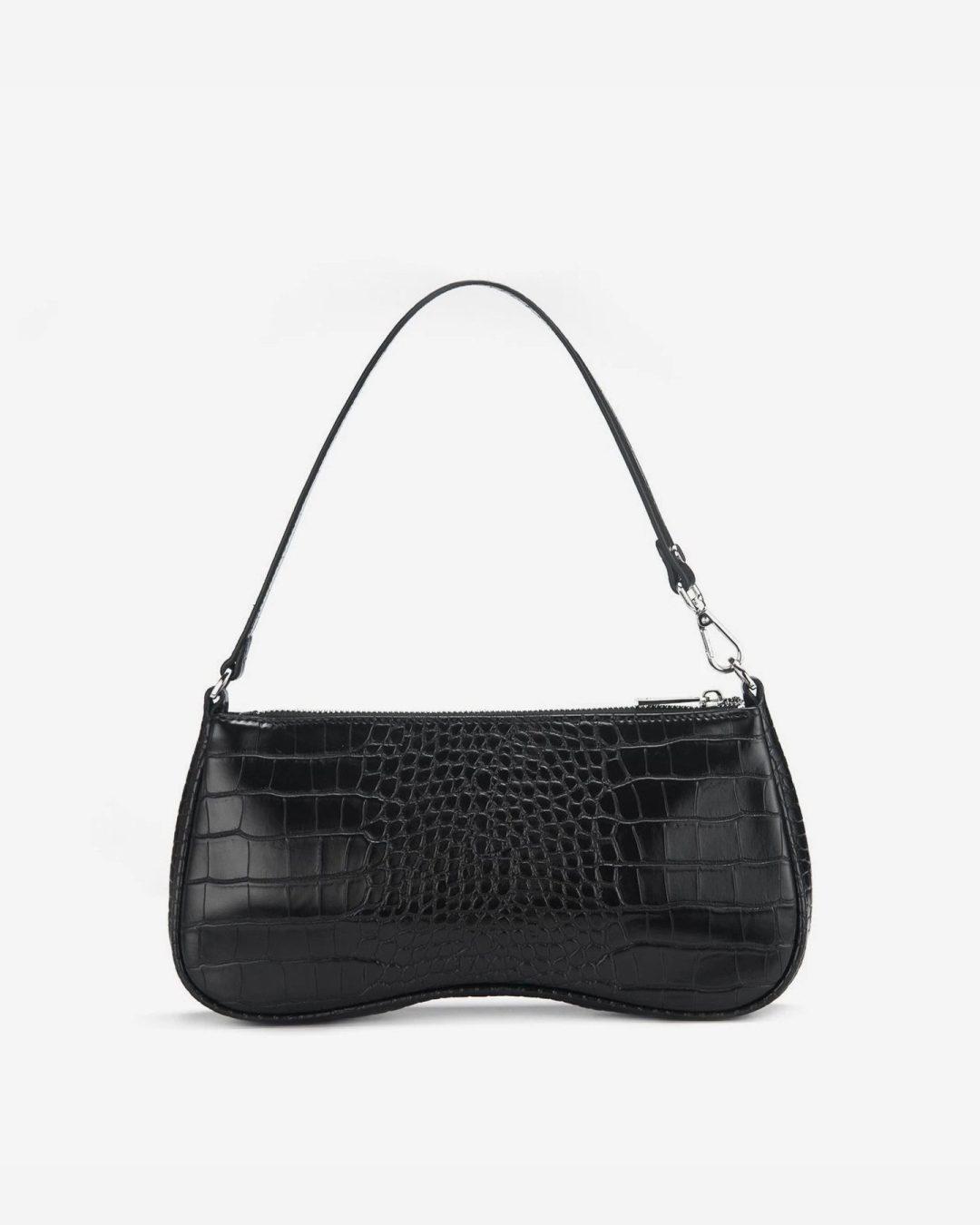 Eva Shoulder Bag in Black Croc for best minimalist purses