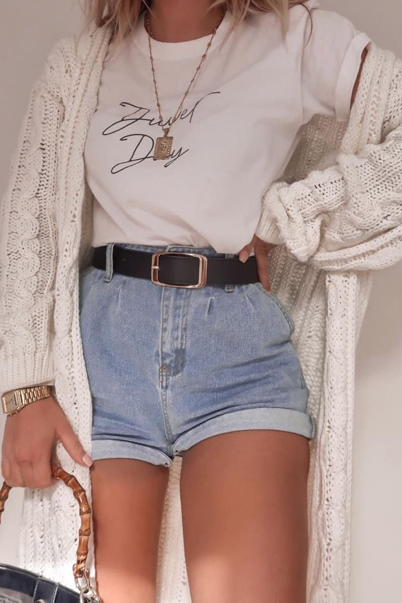 Cute back to the school outfit with shorts and cardigan