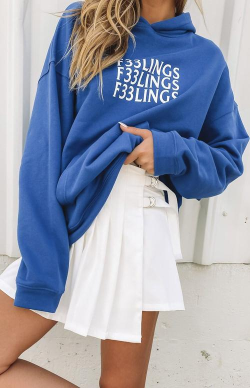 Oversized blue hoodie with pleated skirt for best outfits with hoodies