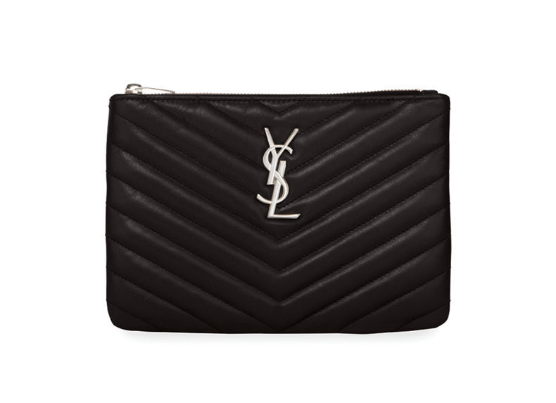 Black YSL Monogram Small Chevron Quilted Zip-Top Pouch Bag