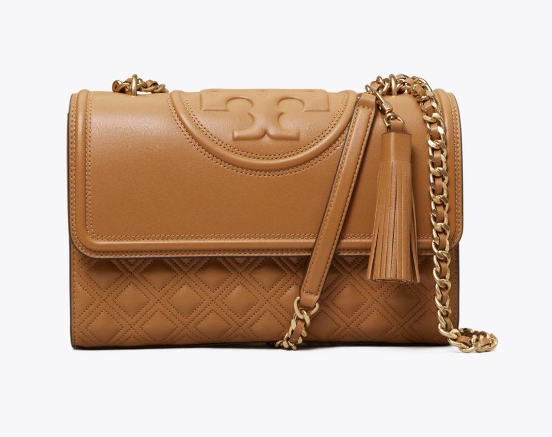 Tan Tory Burch Fleming bag for best designer bags under $500