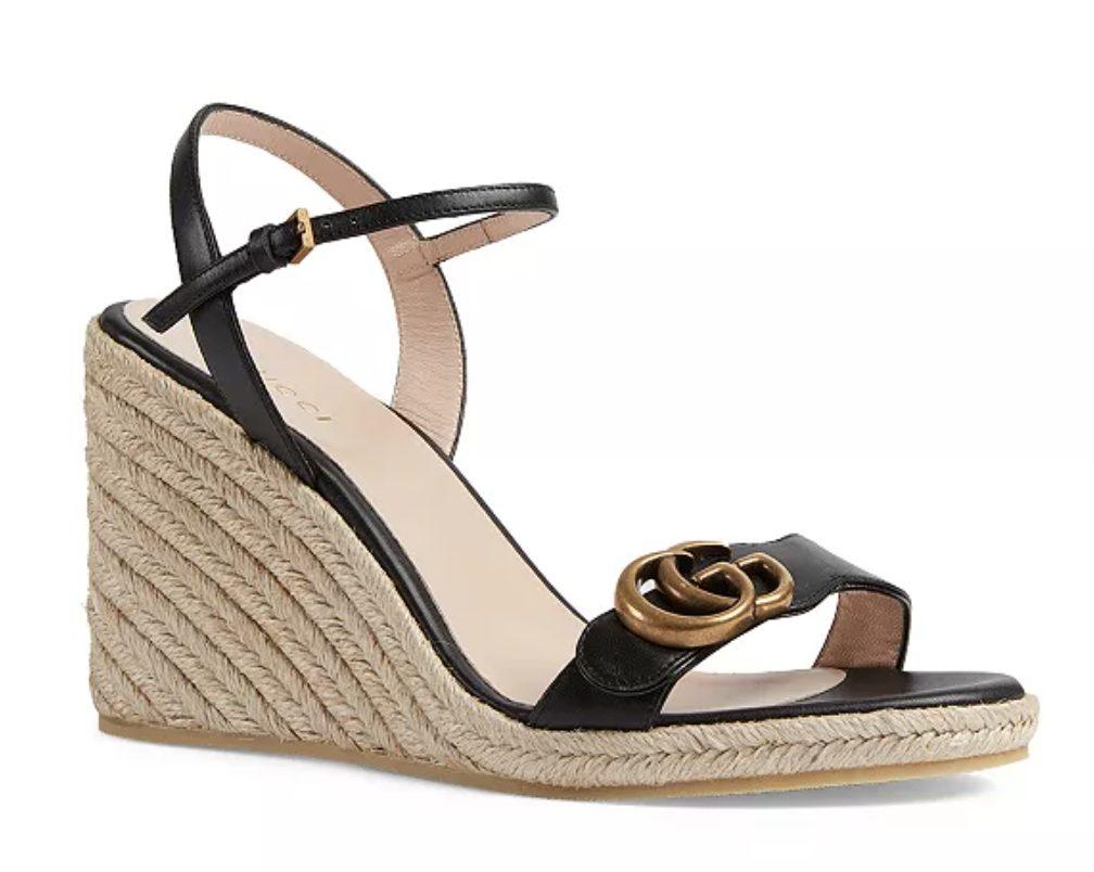 Black Gucci Aitana Espadrille Wedge Sandals for best designer espadrilles