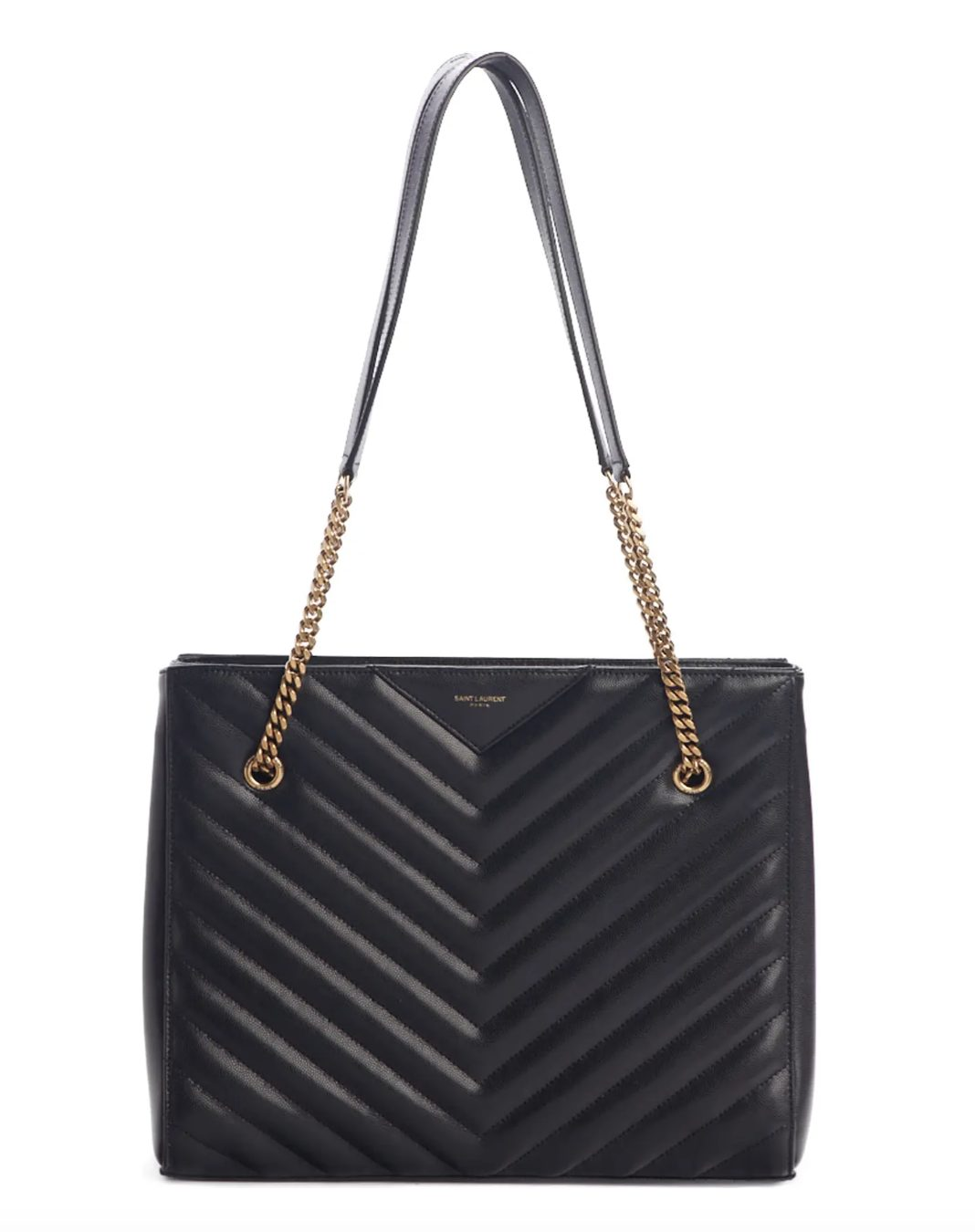 Saint Laurent Medium Tribeca Quilted Leather Tote in black for best designer tote bags for travel