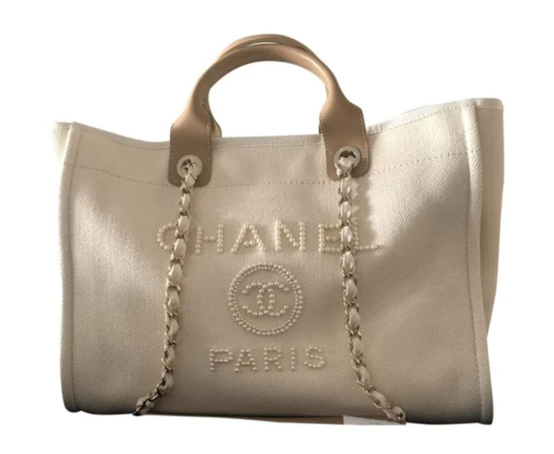 Chanel Large Tote in beige for best designer tote bags for travel