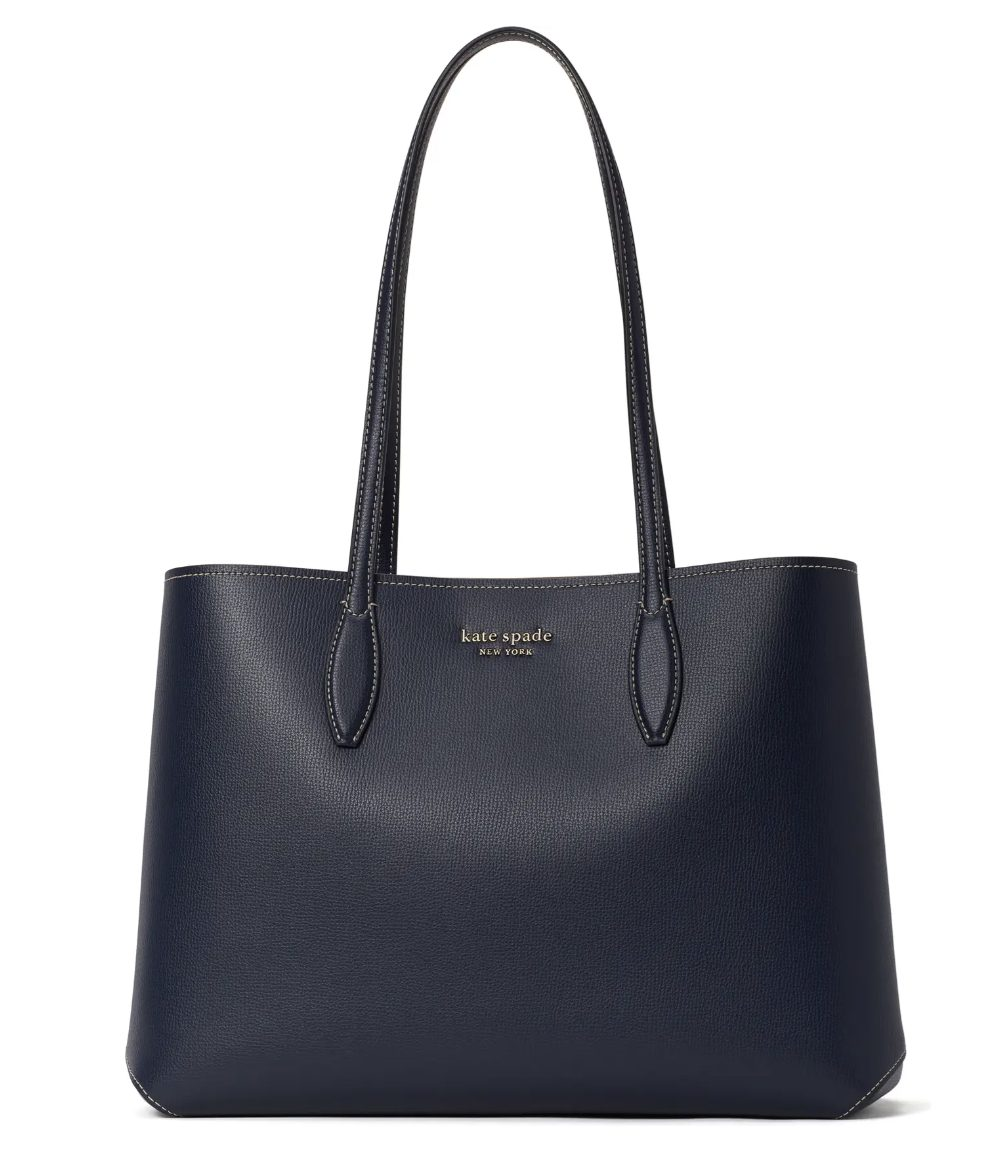 Kate Spade All Day Large Leather Tote in navy blue