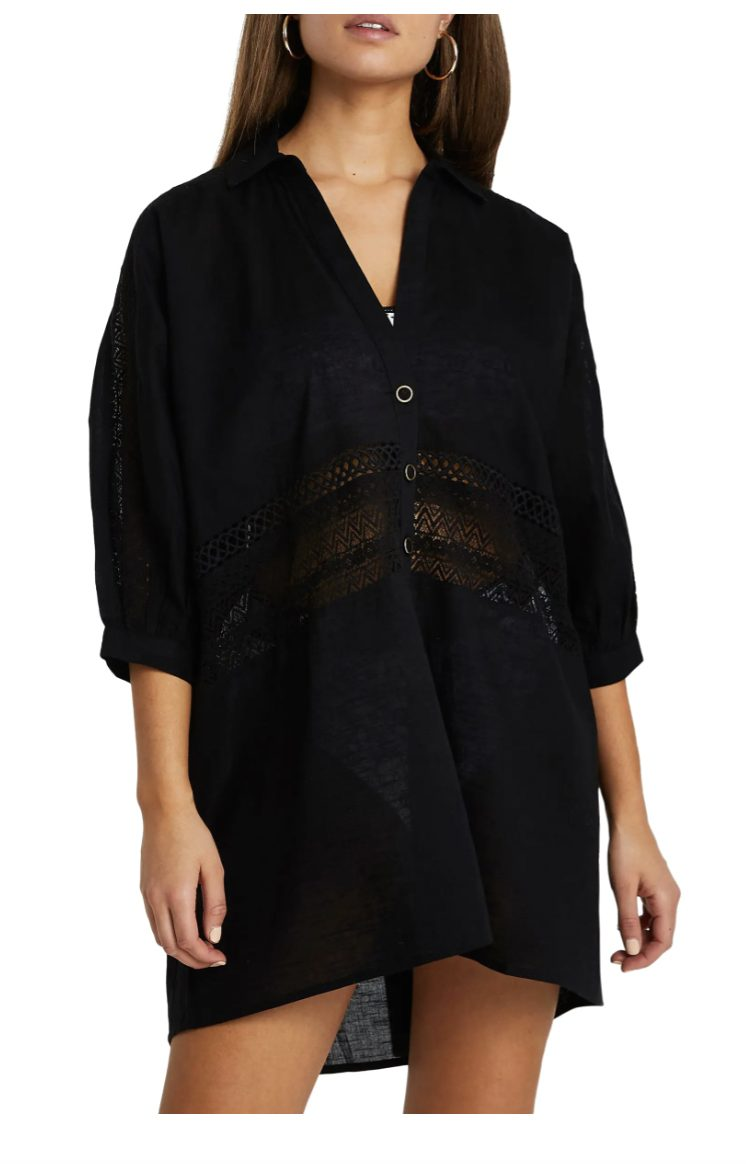 Loose black house dress