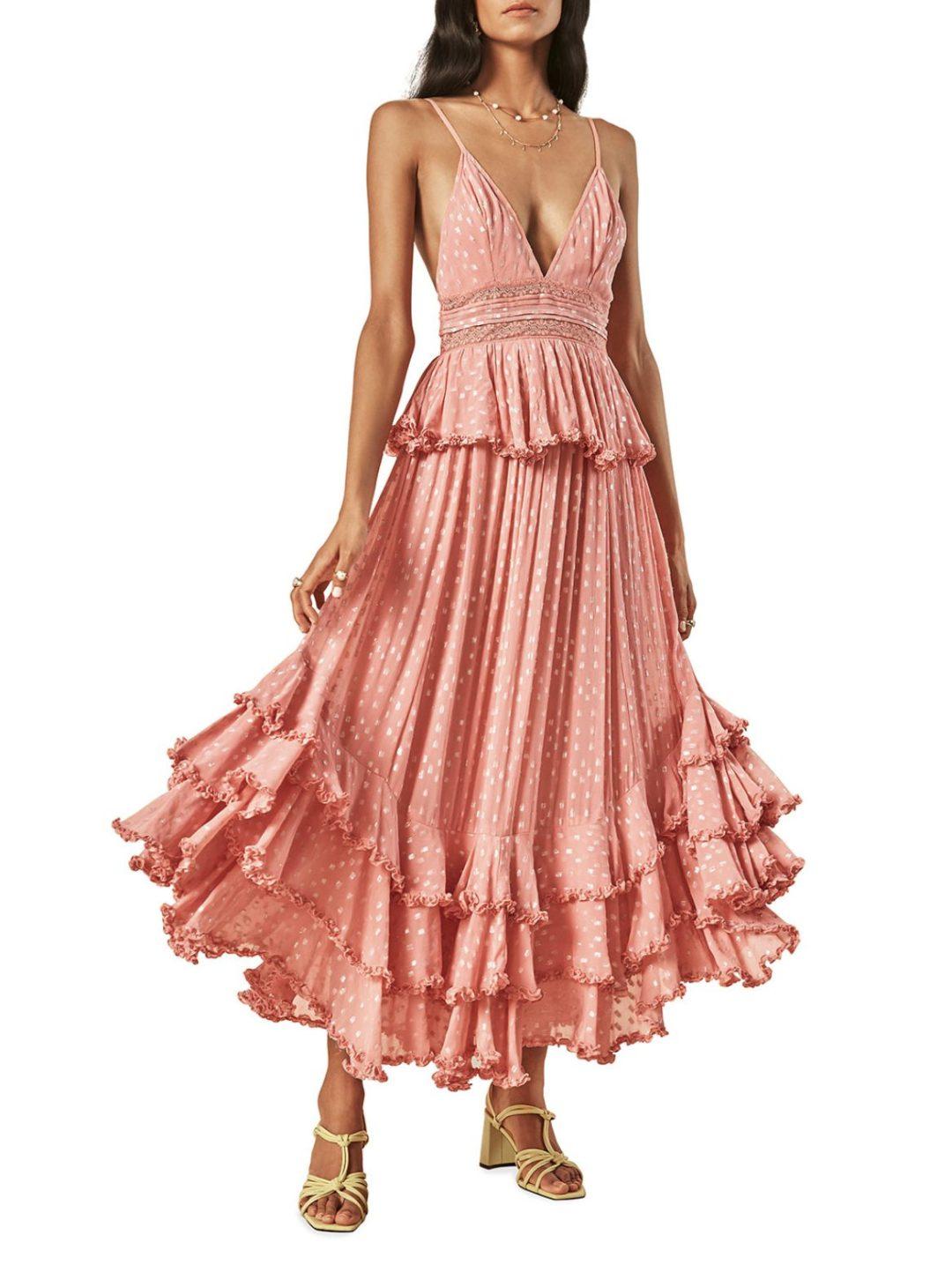Long pink tiered ruffle dress