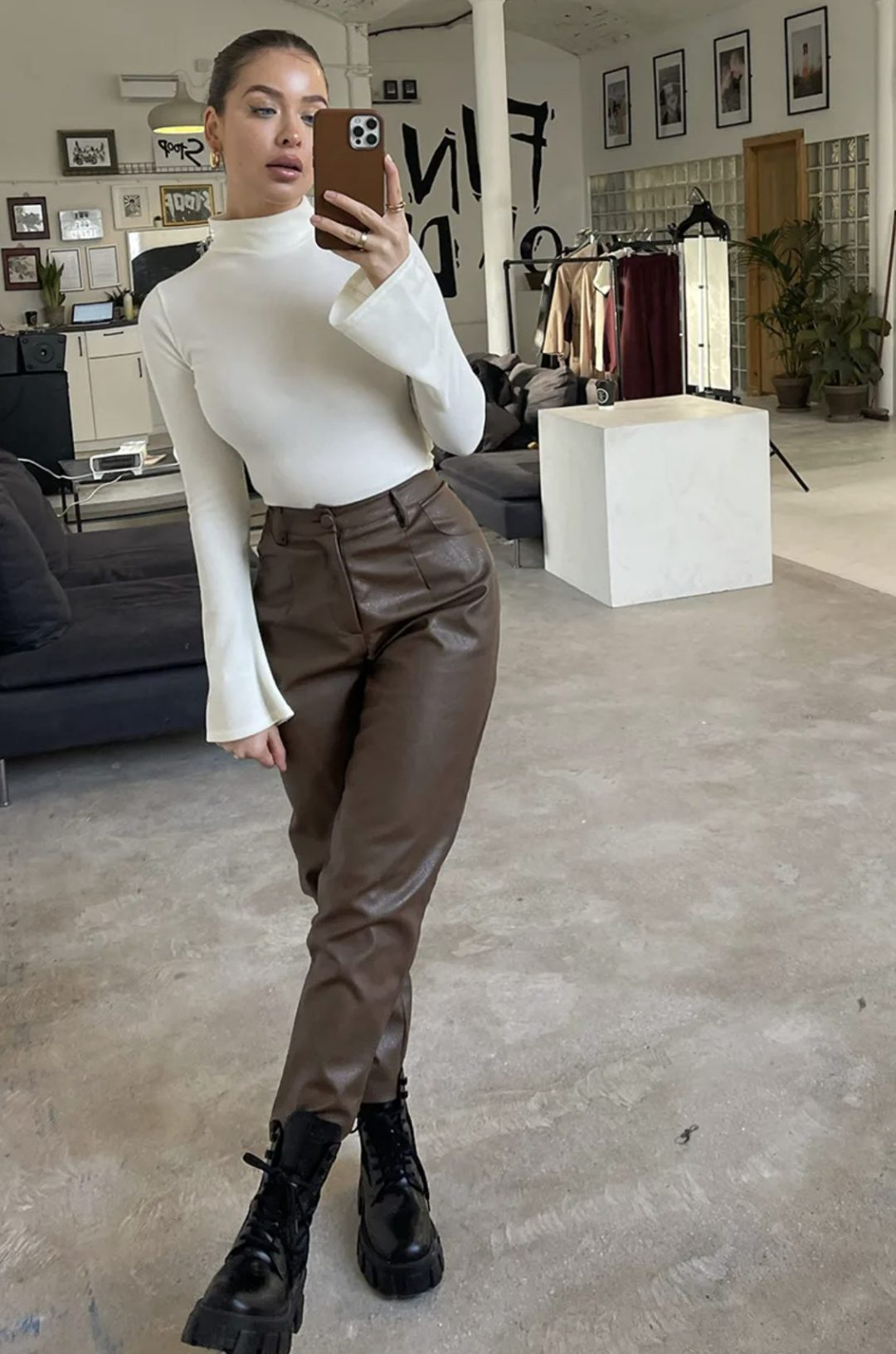 Cute back to school outfit with brown leather pants