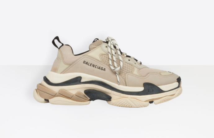 Balenciaga Triple S in beige and black for best designer shoes to invest in