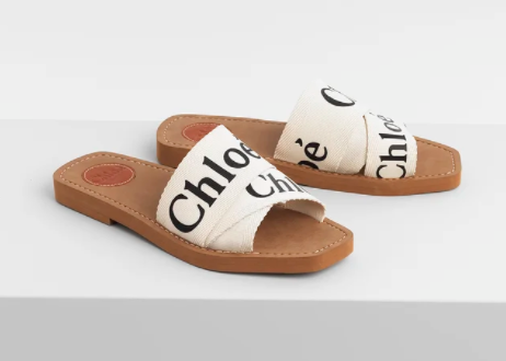 Chloe Woody Slide Sandals in canvas for best designer shoes to invest in