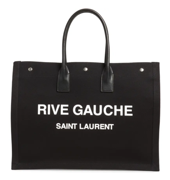 Saint Laurent Rive Gauche Tote Bag in black for best designer tote bags for travel
