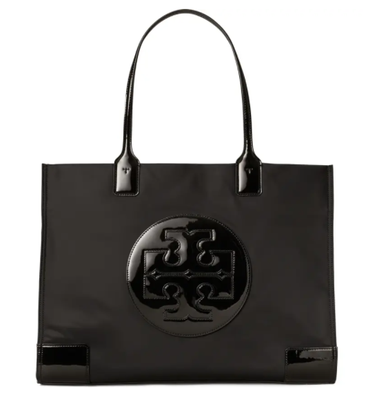 Tory Burch Ella Patent Nylon Tote in black for best designer tote bags for travel