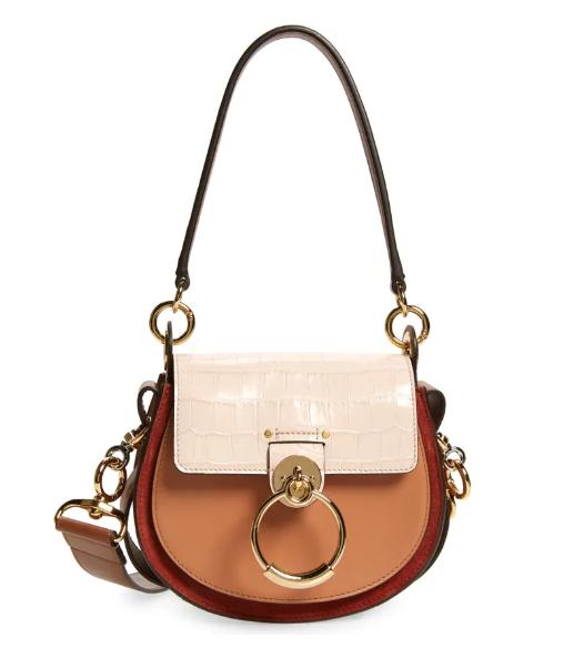 Chloe Tess Small Leather Shoulder Bag in multicolor for best designer bags under $2000
