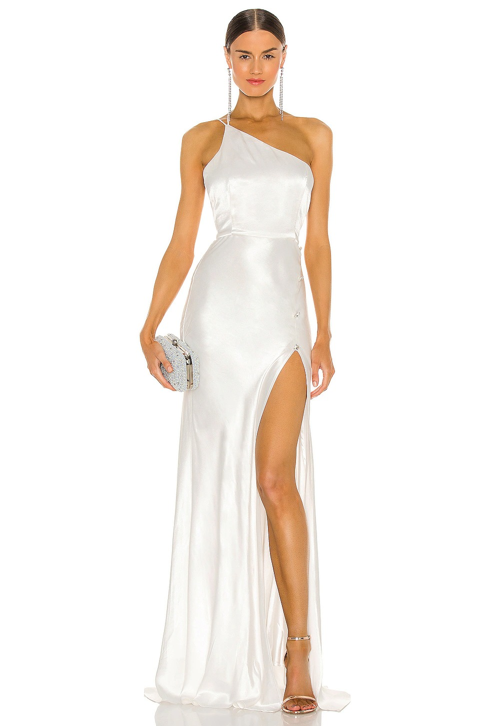 Affordable satin wedding dress with thigh slit