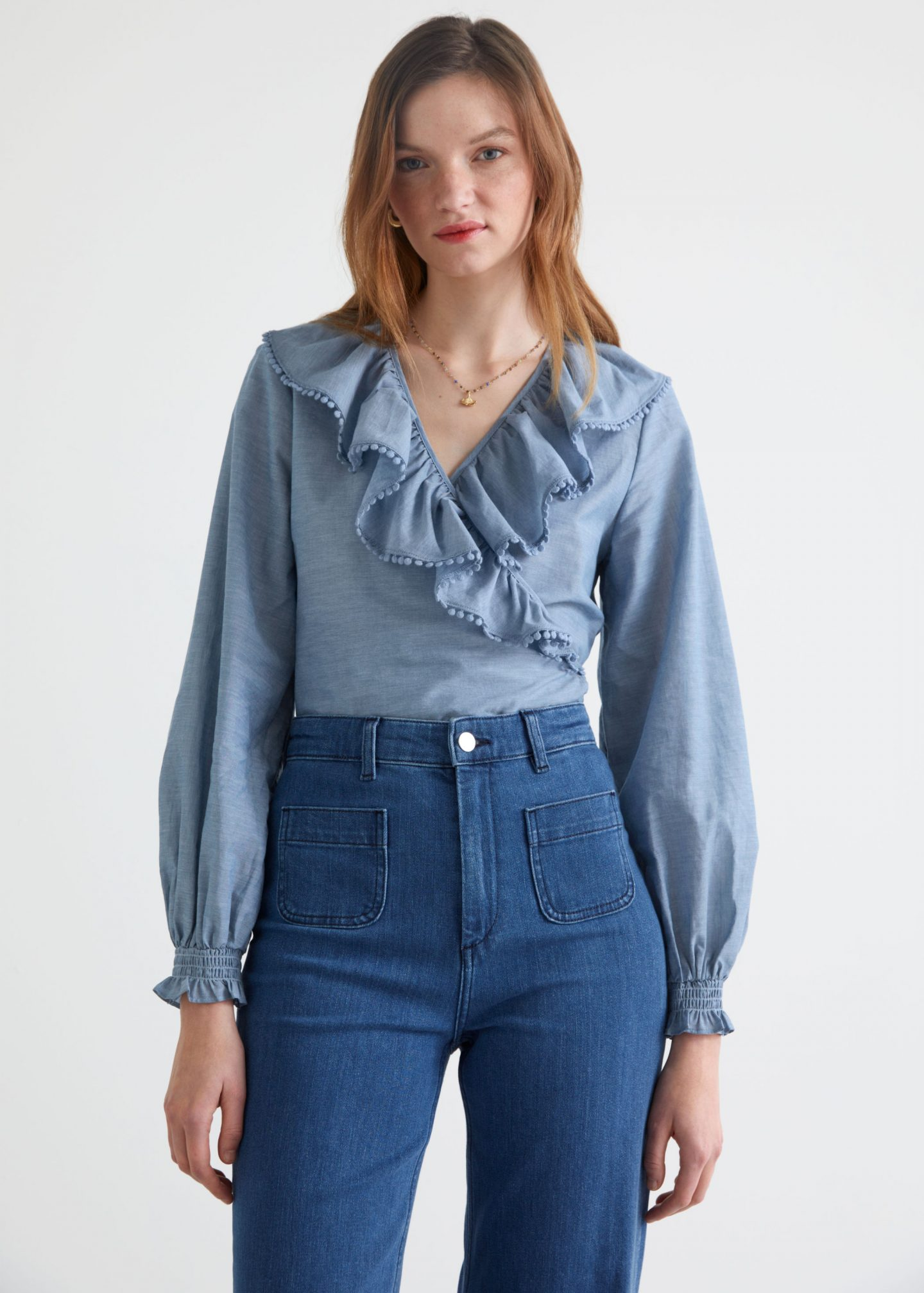 Blue ruffled long sleeve top from & Other Stories