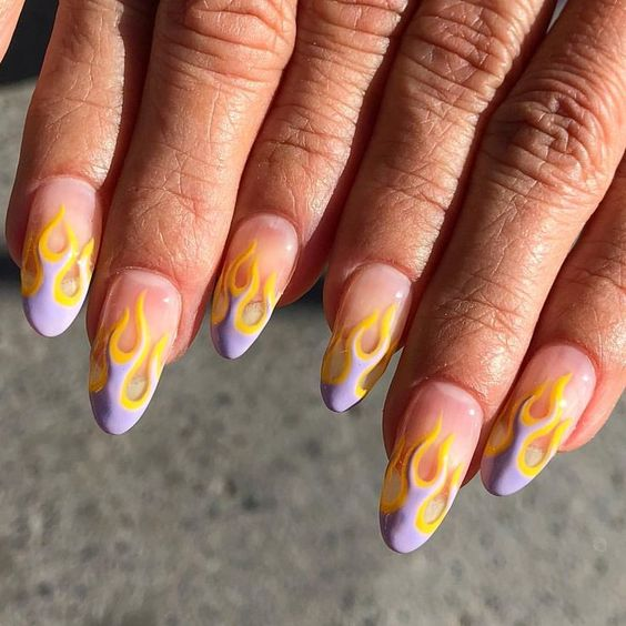 Lavender and yellow flame nails