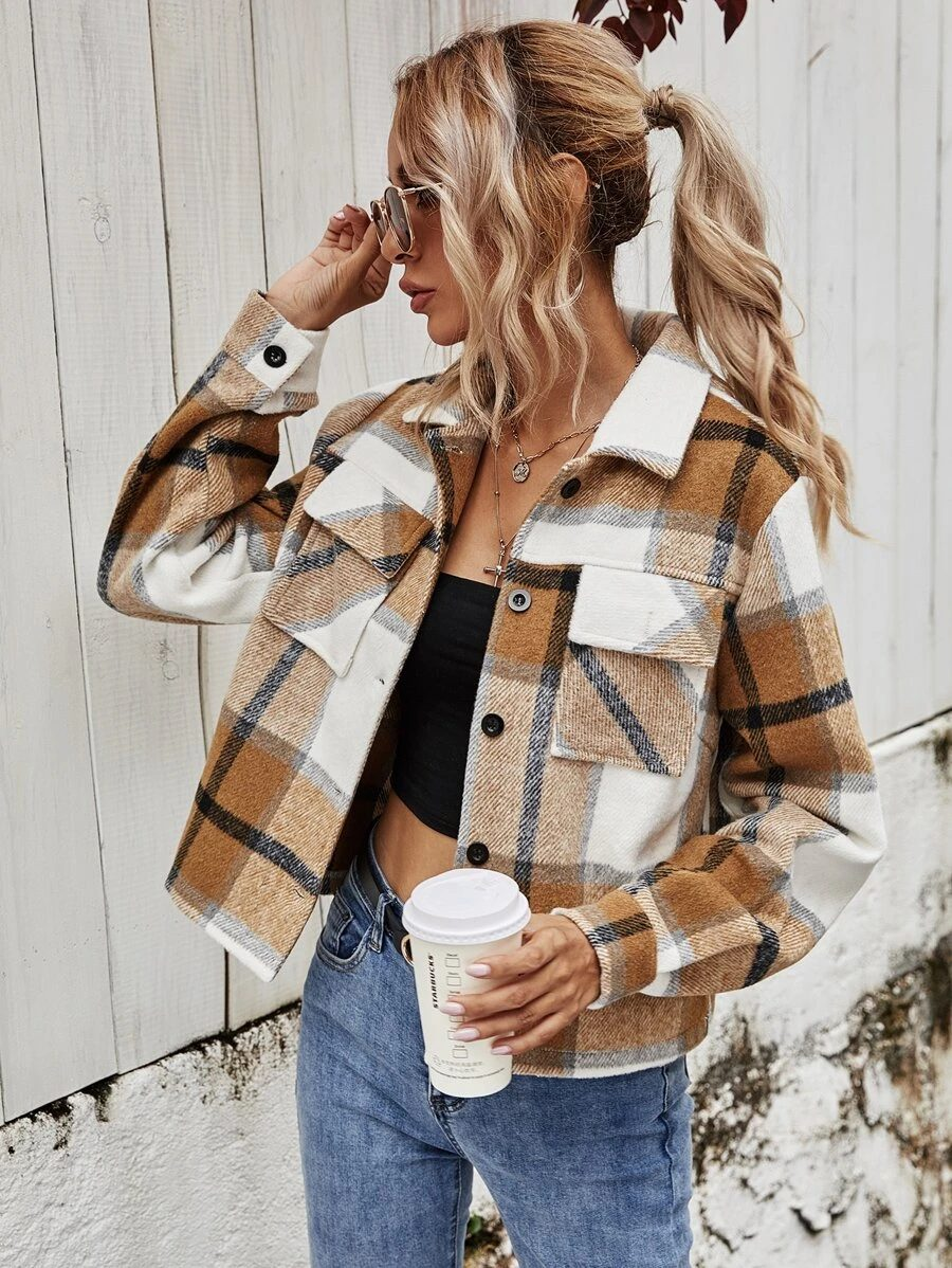 Cute plaid shacket outfit