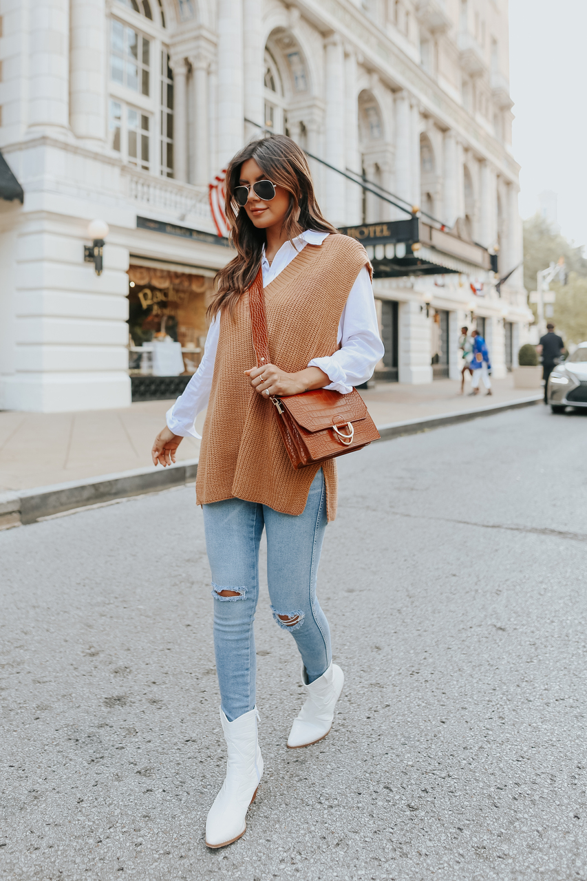 Cute fall outfit with sweater vest