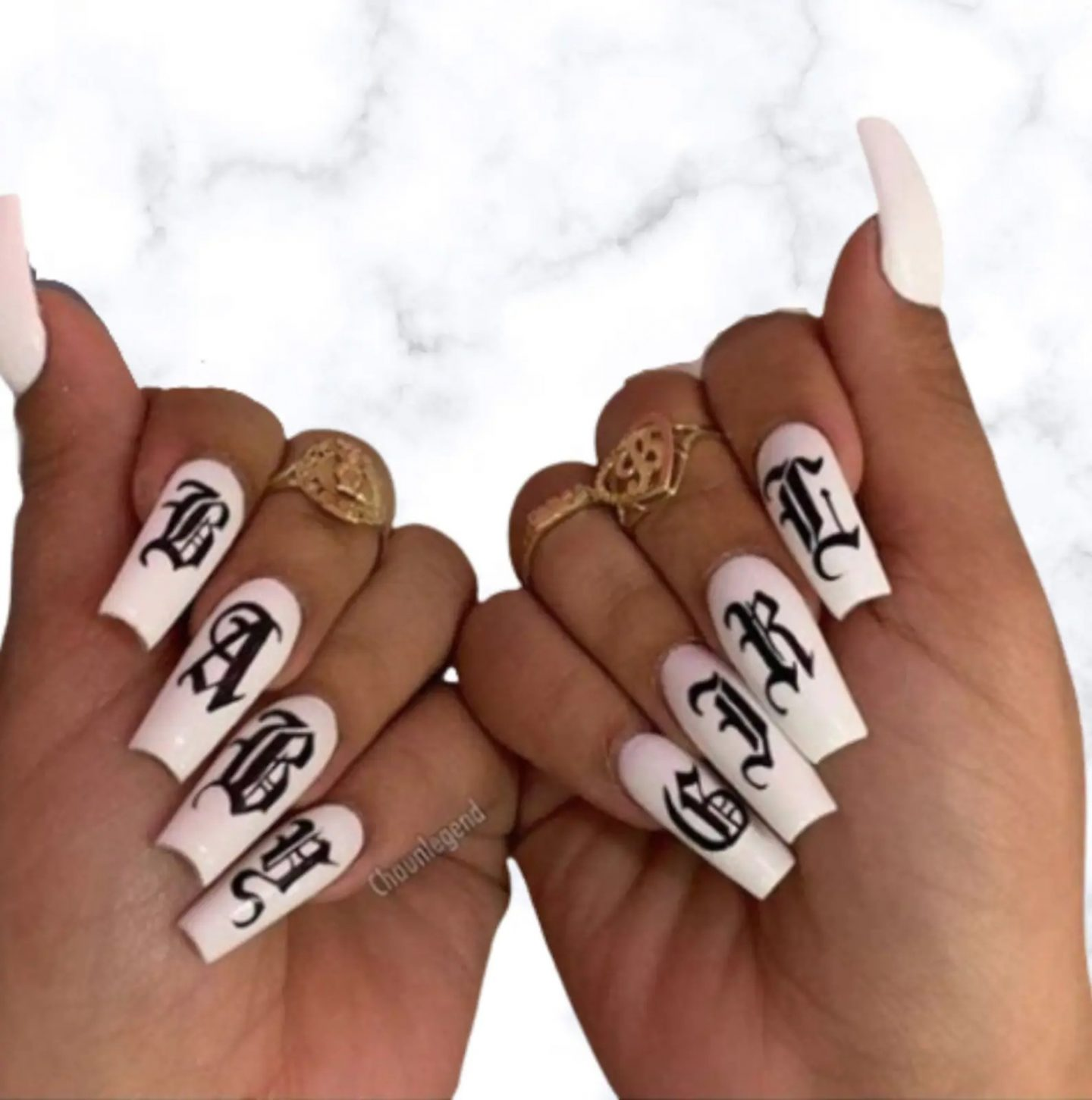 Old English baby girl letter nail stickers for birthday