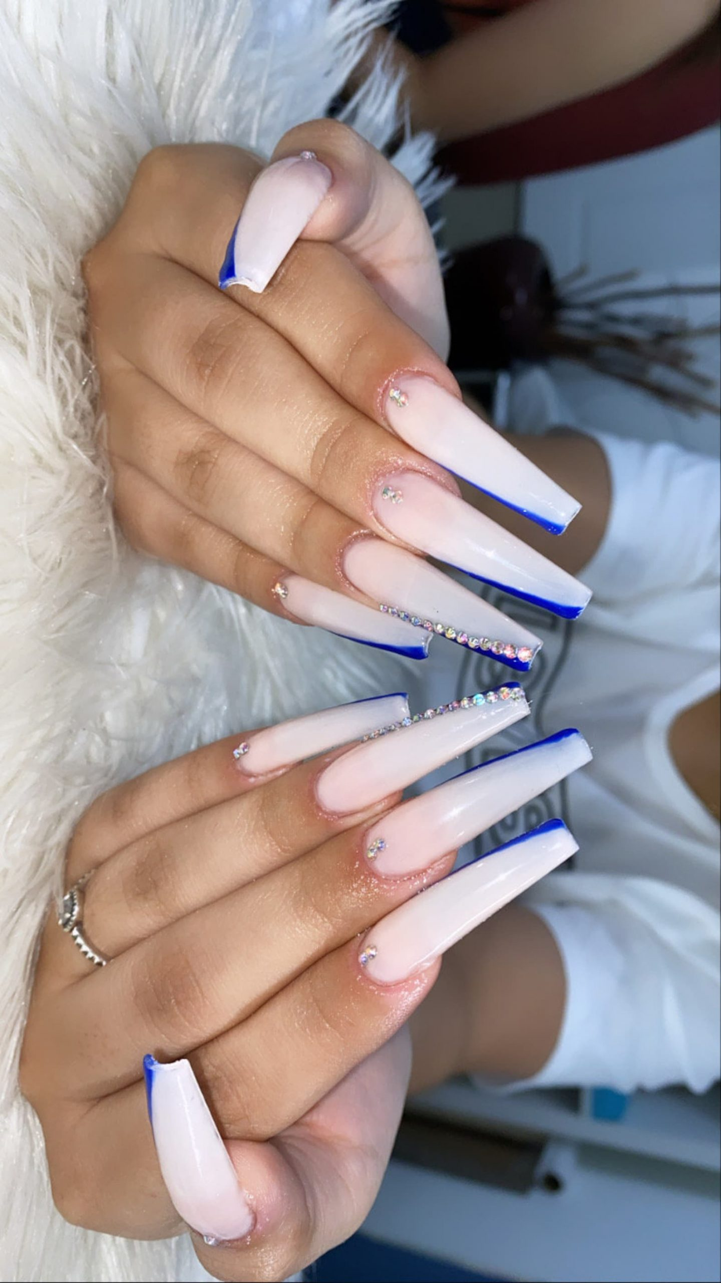 XXL white birthday nails with royal blue side French tips