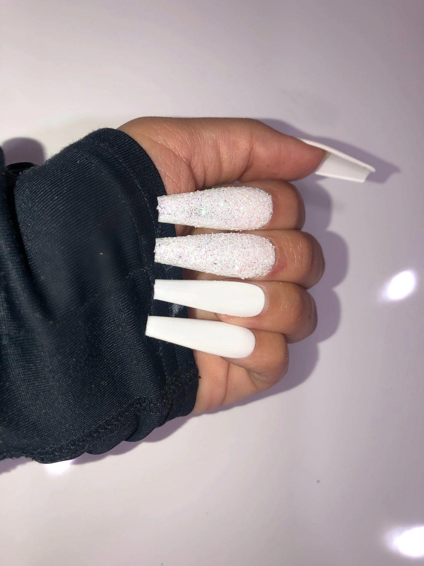 White birthday coffin nails with rhinestones