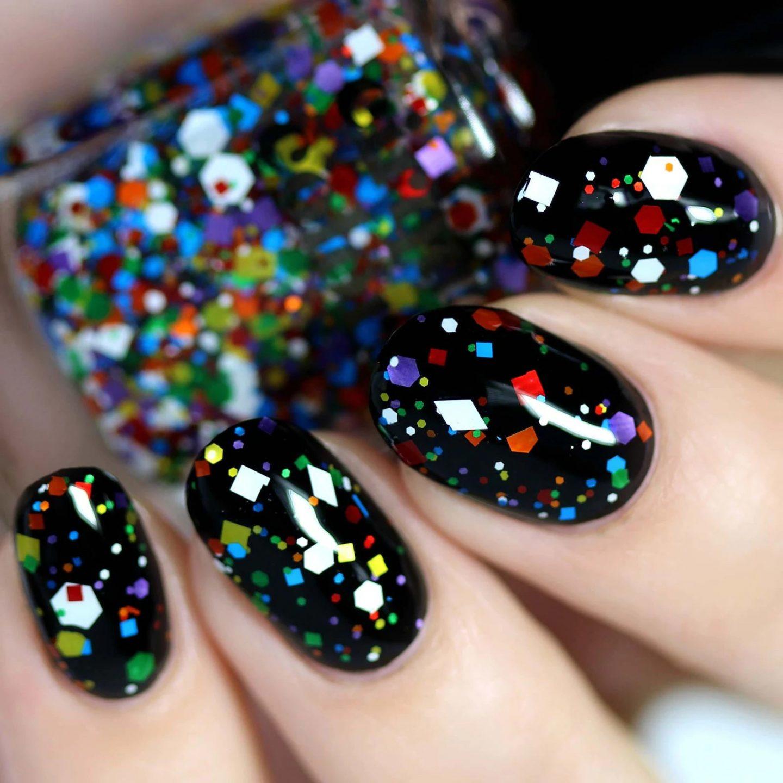 Short black glitter and confetti nails