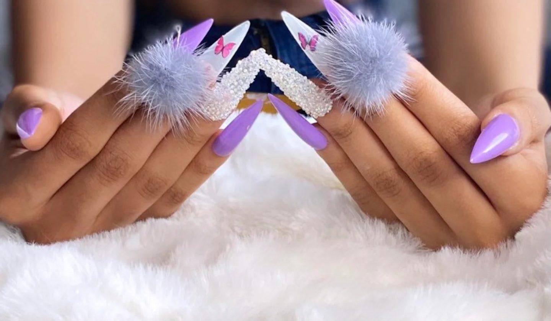 Lavender purple pom pom nails with rhinestones