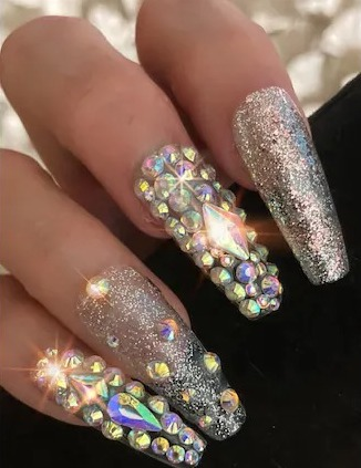 Silver rhinestone and glitter bling birthday nails in coffin shape