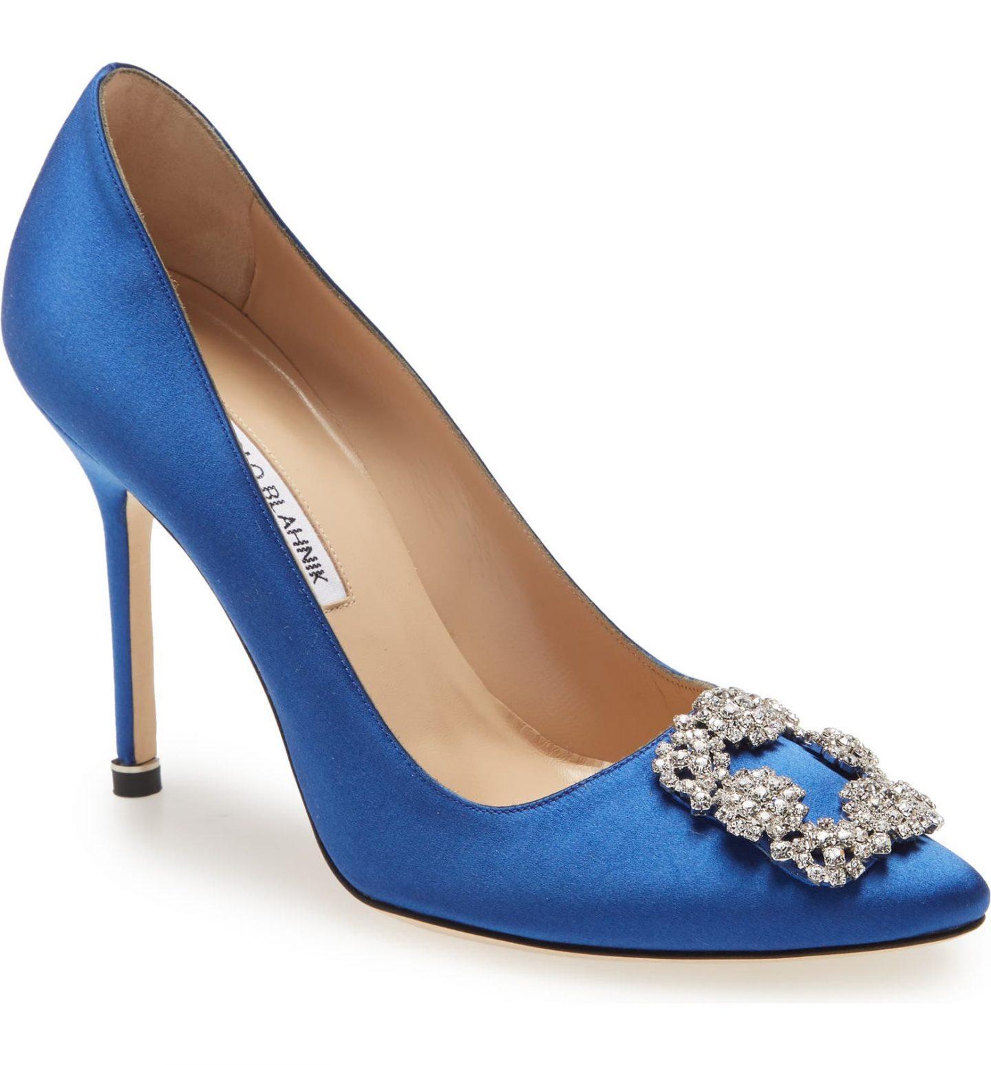 Blue Manolo Blahnik Hangisi heels