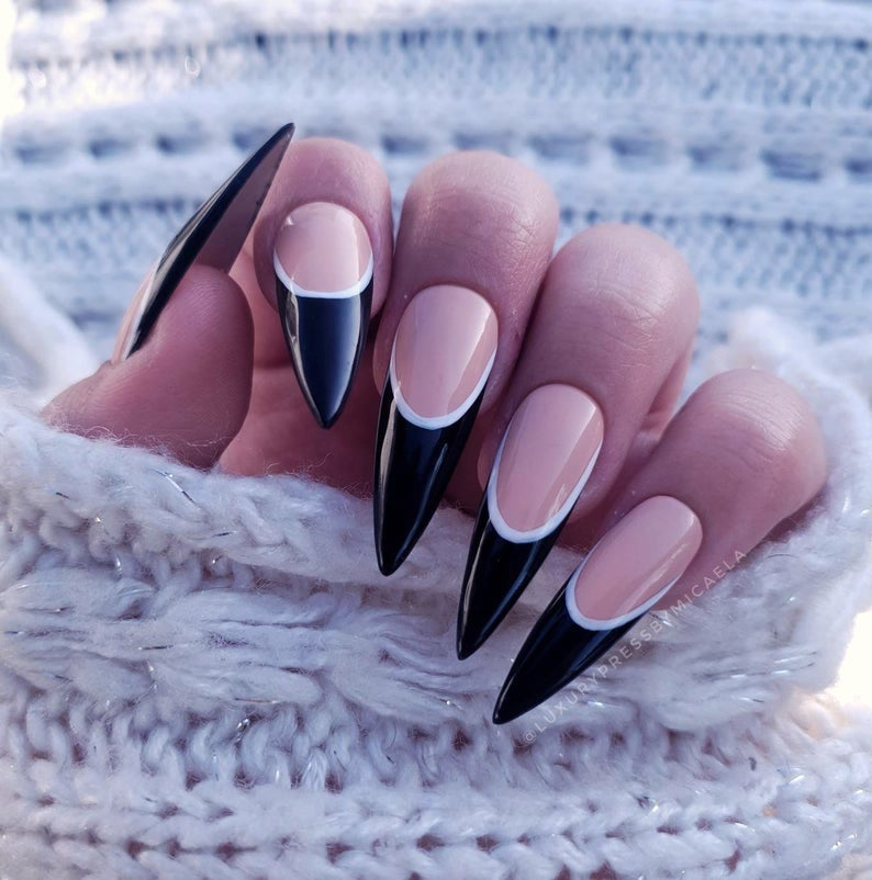 Minimalist black French tip nails with white line