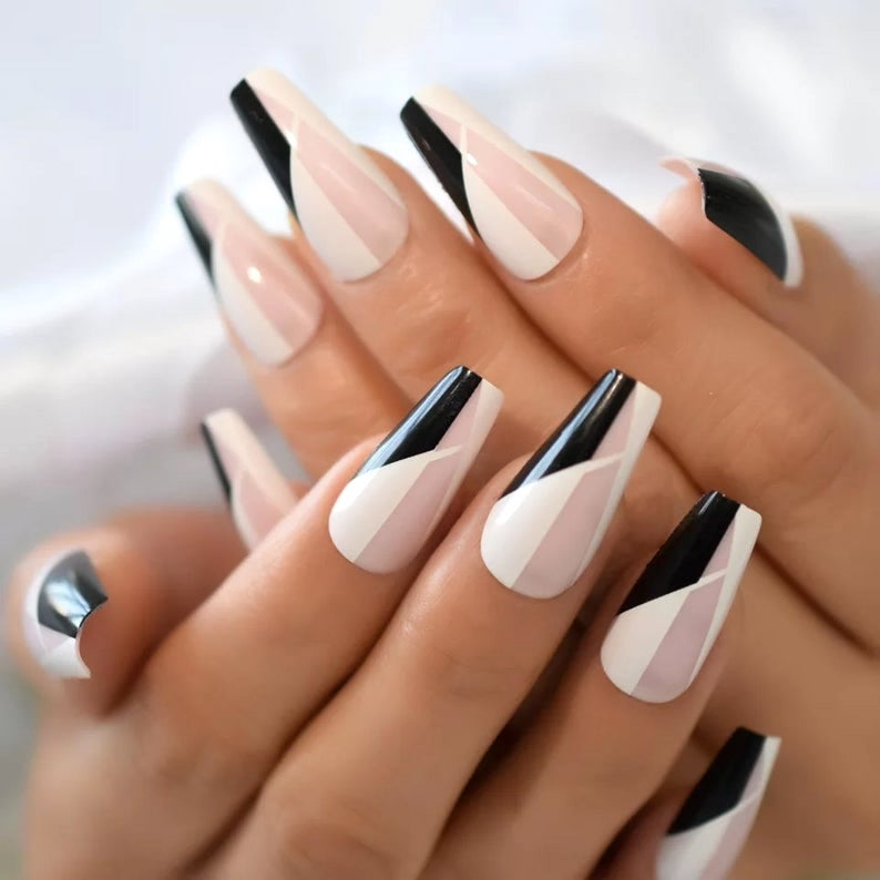 Pink, white and black abstract coffin nails
