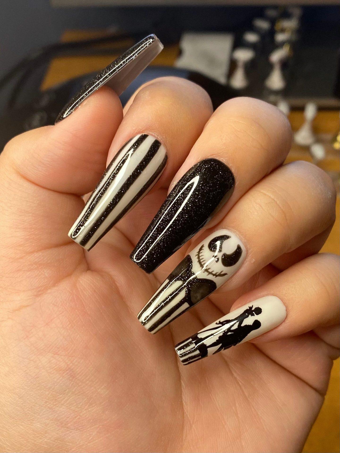 Black and white Jack Skellington Halloween nails