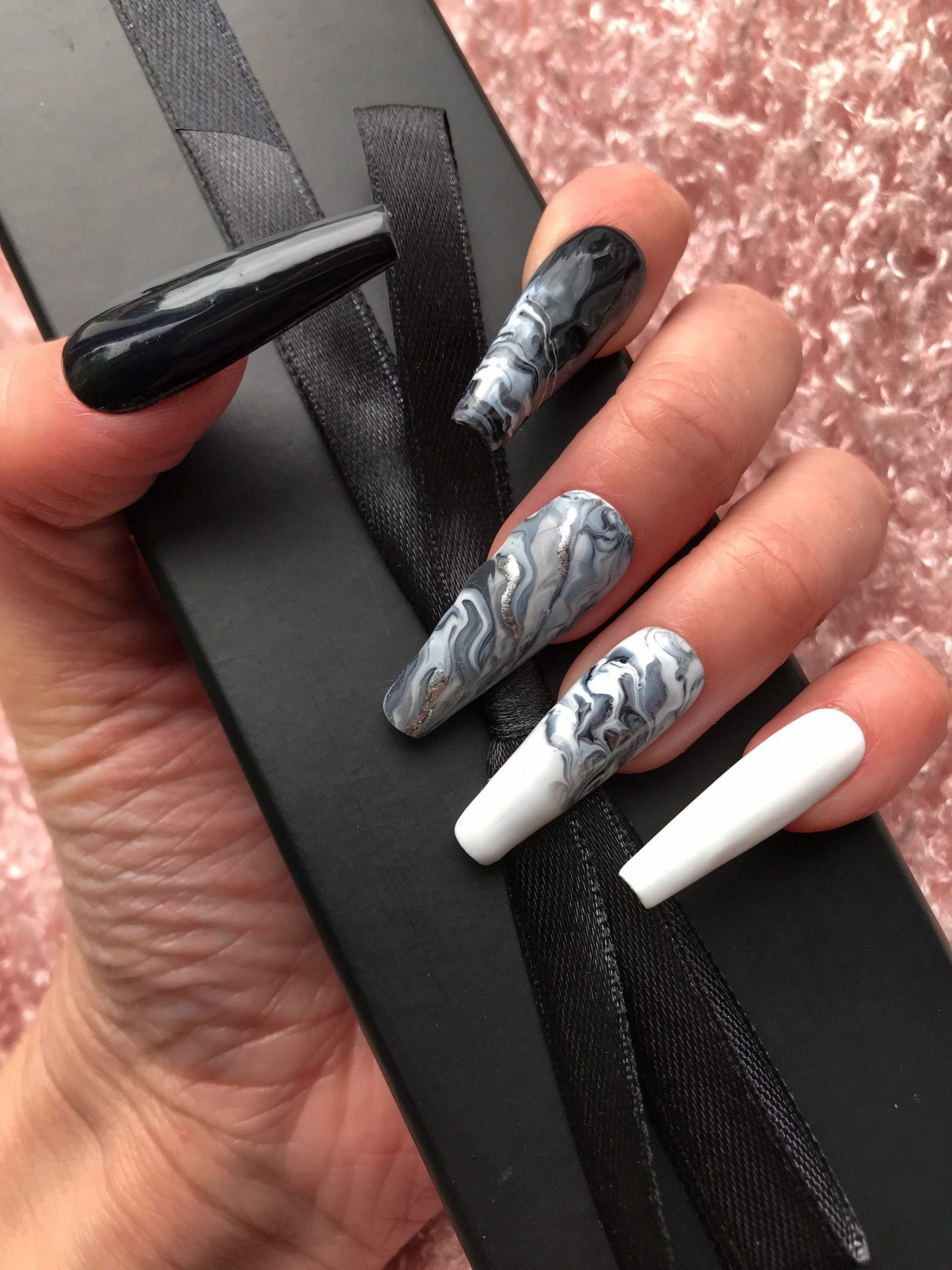 Long black, white and grey marble nails
