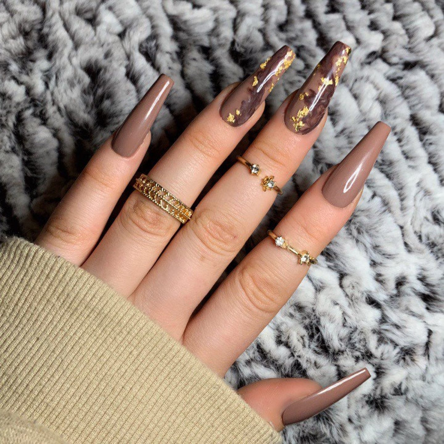 Brown marble nail designs with gold foil