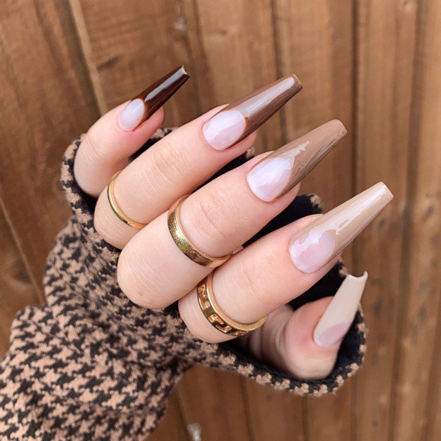 Brown ombre French tip nails