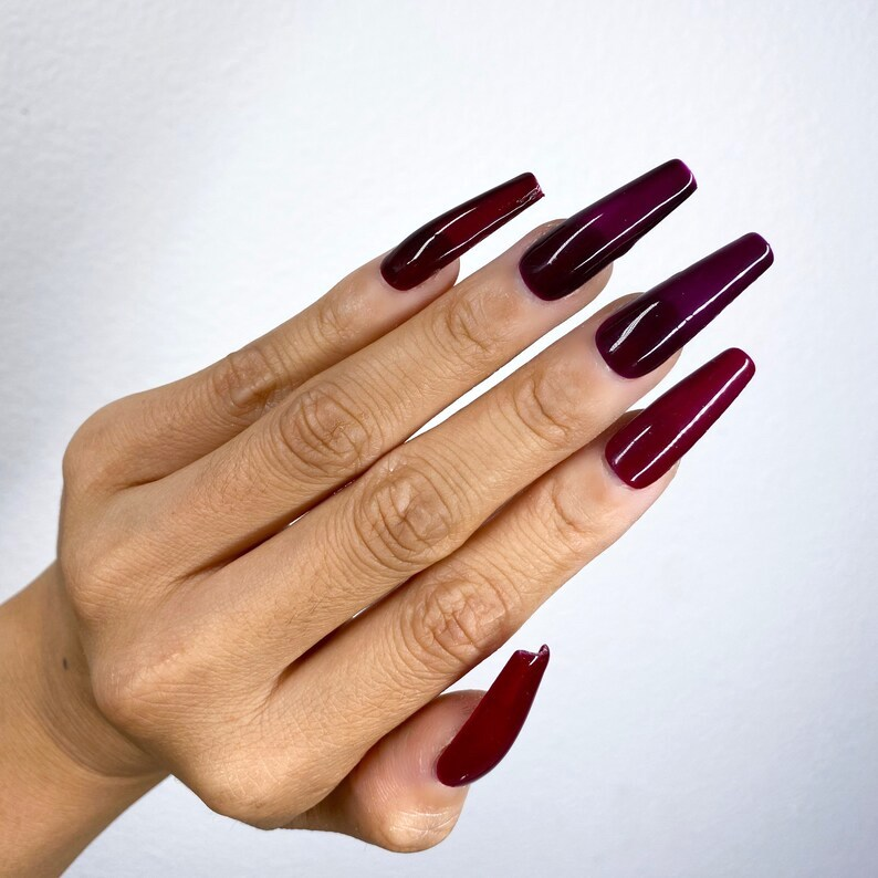 Long ombre maroon jelly nails